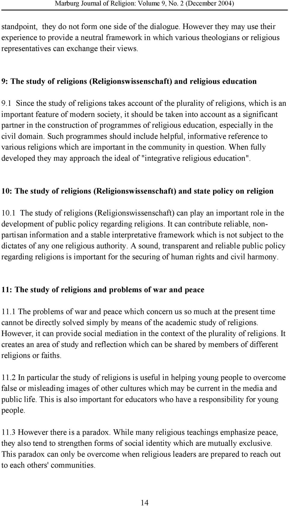 9: The study of religions (Religionswissenschaft) and religious education 9.