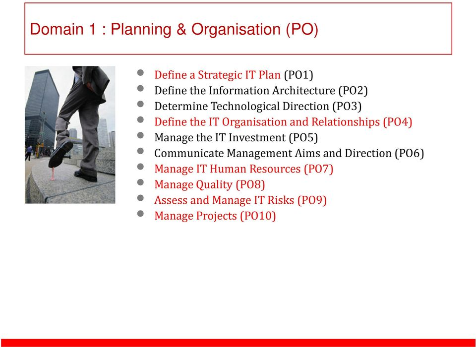 Relationships(PO4) Manage the IT Investment(PO5) Communicate Management Aims and Direction(PO6)