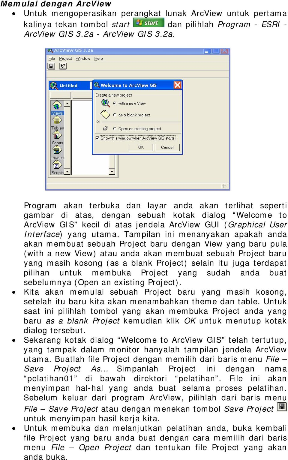 Program akan terbuka dan layar anda akan terlihat seperti gambar di atas, dengan sebuah kotak dialog Welcome to ArcView GIS kecil di atas jendela ArcView GUI (Graphical User Interface) yang utama.