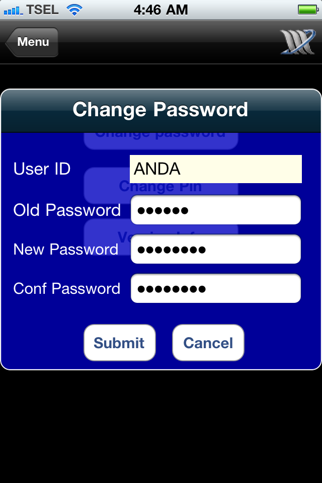 Pilih tombol Change Password.