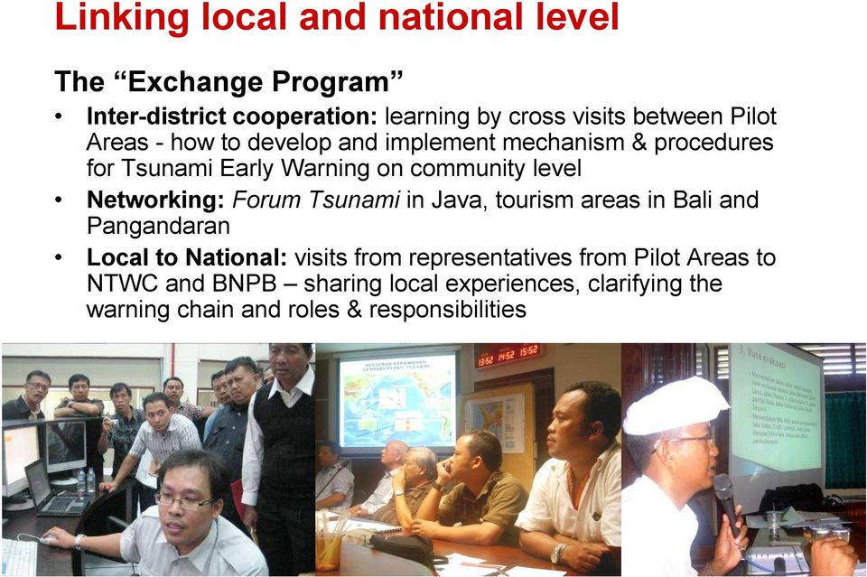 Networking: Forum Tsunami in Java, tourism areas in Bali and Pangandaran Local to National: visits from