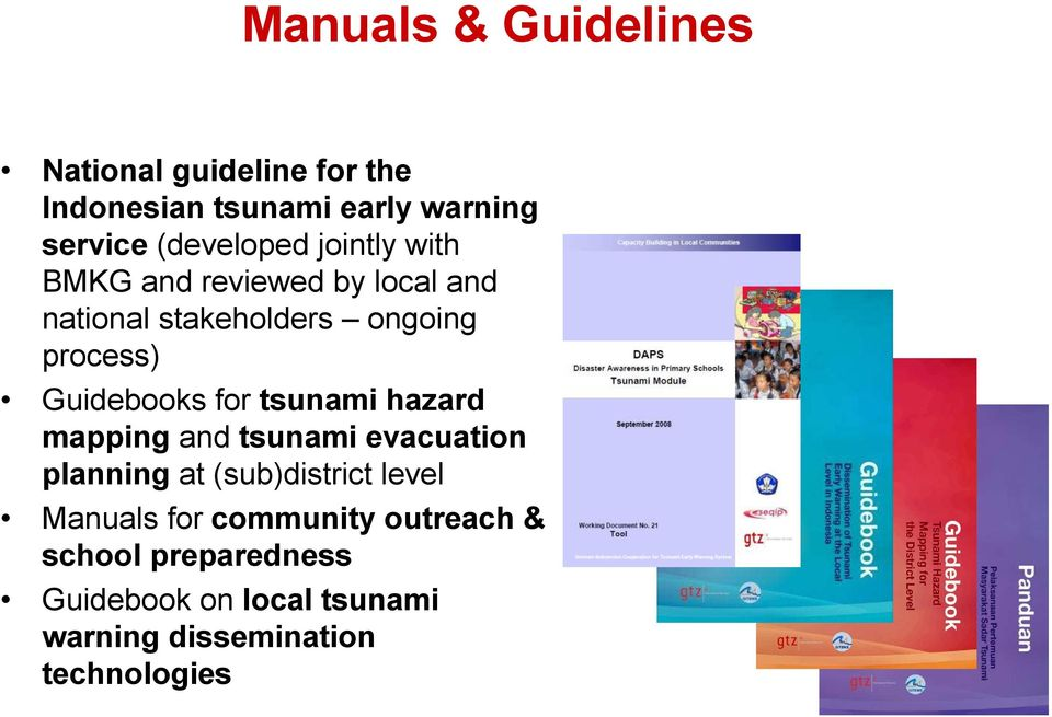 Guidebooks for tsunami hazard mapping and tsunami evacuation planning at (sub)district level