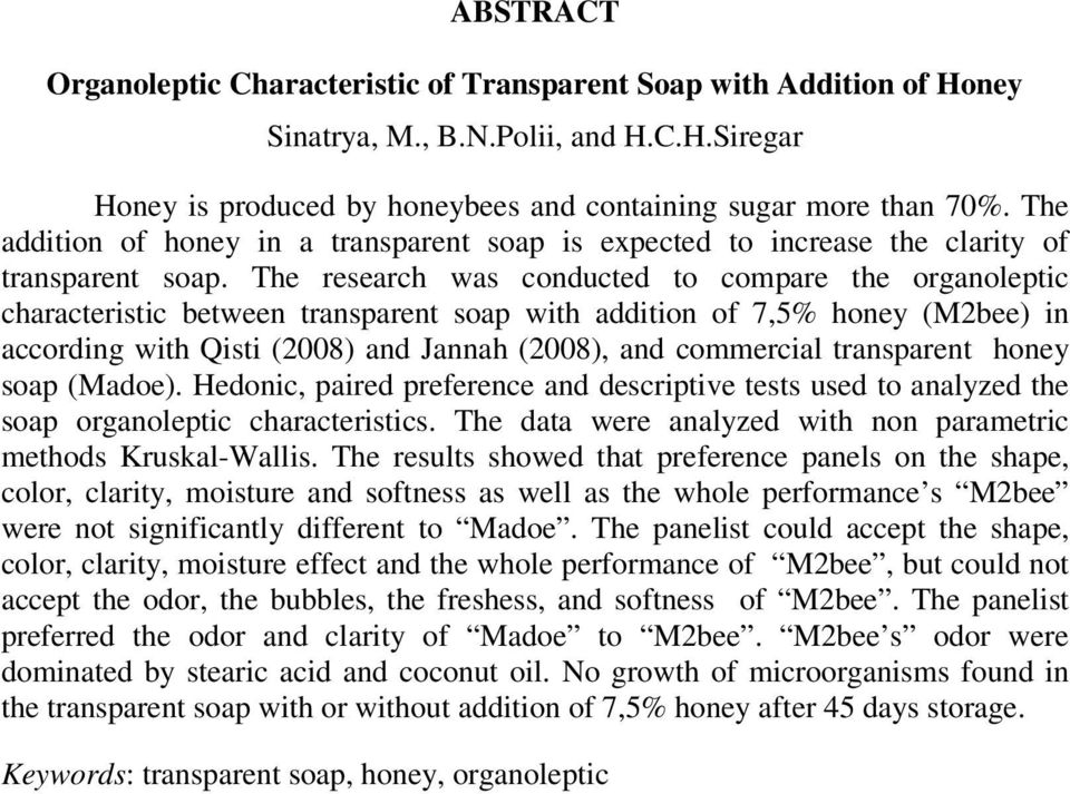 The research was conducted to compare the organoleptic characteristic between transparent soap with addition of 7,5% honey (M2bee) in according with Qisti (2008) and Jannah (2008), and commercial