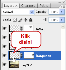 ikon Add layer mask di bawah palette layer.