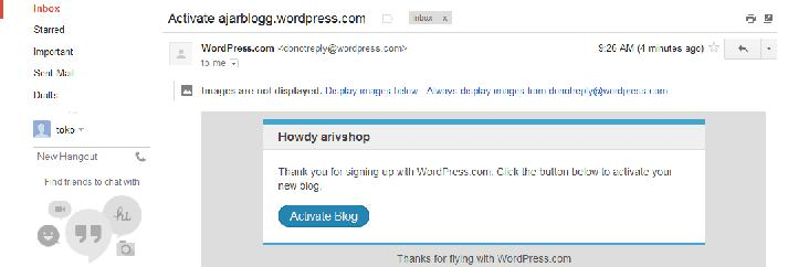 aktivasi wordpress nya.