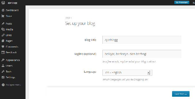 4. Isi Blog Title dan Tagline blog Anda.