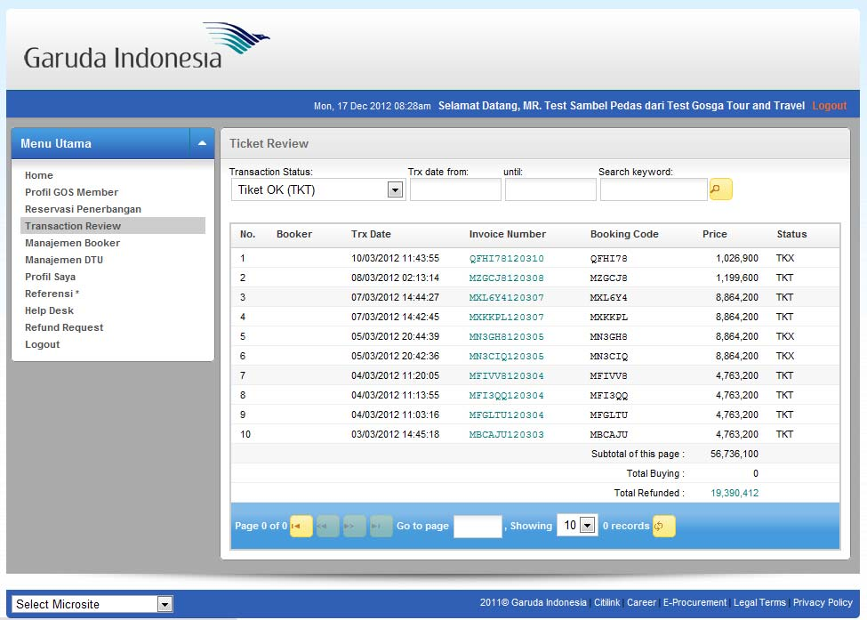 4.2 Melakukan refund by menu Transaction Review Pilih menu Transaction