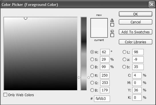 Pada kotak dialog Color Picker (Foreground Color) tentukan R = 250, G = 253 dan B = 179.