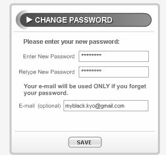 Gambar 2.18 Tab Password 12. Untuk mengubah password lama Anda dengan yang baru, isikan kolom enter New Password dan Retype New Password dengan password baru Anda.