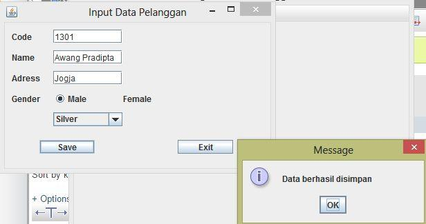 5 Bab III JDBC Tabel 1 Input Data Pelanggan Input data pelanggan