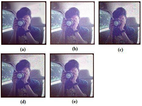13 Gambar 2.5 (a) Citra asli, (b) Gaussian Noise, (c) Salt and Pepper Noise, (d) Speckle Noise dan (e) Exponential Noise 2.
