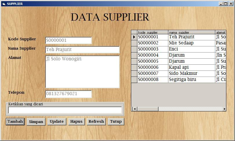 Gambar 4.5 Form Data Supplier Form data supplier hampir mirip fungsinya dengan data barang, perbedaannya pada data yang diolah dalam form ini adalah data supplier.