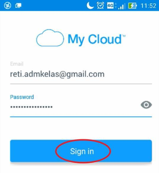 Isikan email dan password login Cloud