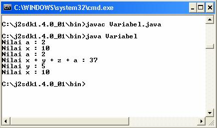 "17 class Variabel { static int a; public static void main(string[] args) { int x; x = 10; a = 2; System.out.println(""Nilai a : "" + a); { int y; y=5; System.out.println(""Nilai x : "" + x); System.out.println(""Nilai a : "" + a); { int z; z = 20; System."