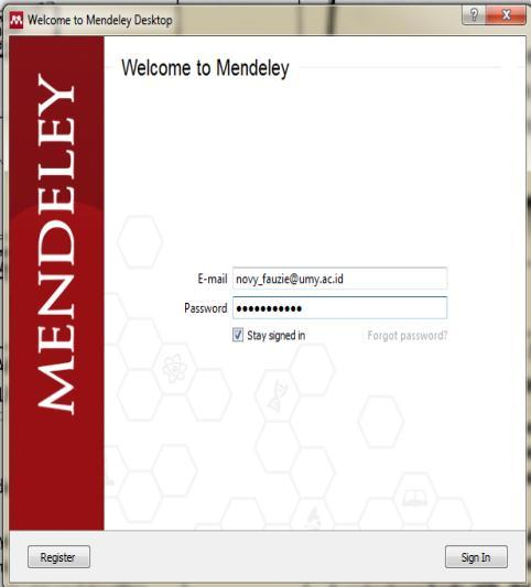 3. Installasi Mendeley MS Word Plugin Buka aplikasi mendeley desktop, dengan cara klik