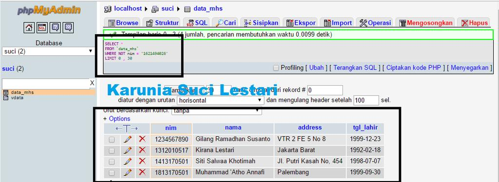 3. UPDATE UPDATE, mengubah record (baris) data pada database.