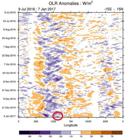 B. Outgoing Longwave Radiation (OLR) Gambar 3. Outgoing Longwave Radiation (OLR) tanggal 09 Juli 2016 s/d 07 Januari 2017 (Sumber : www.bom.gov.