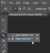 > Pilih Magic Wand Tool pada