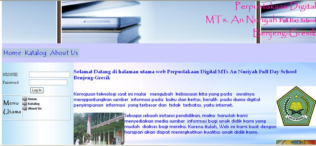 122 5.3.10 Home Page Web Digital Library MTs. An Nuriyah Gresik Gambar 5.31 Desain Home Page Web Digital Library MTs.