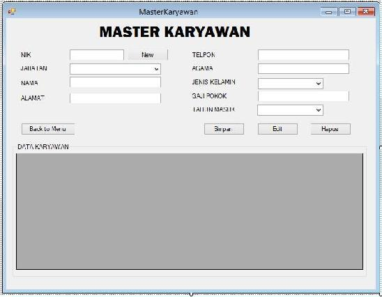 55 4. Form Menu Insert, Update, and Delete Karyawan Gambar 4.