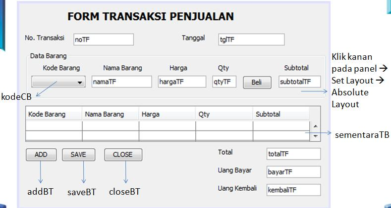 f. Klik kanan pada table Table Contents Isikan pada tab Columns Close g.