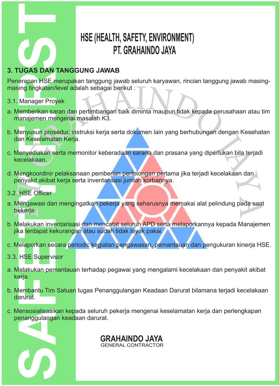 Health Safety Environment Hse Department Pt Grahaindo Jaya General Contractor Pdf Free Download